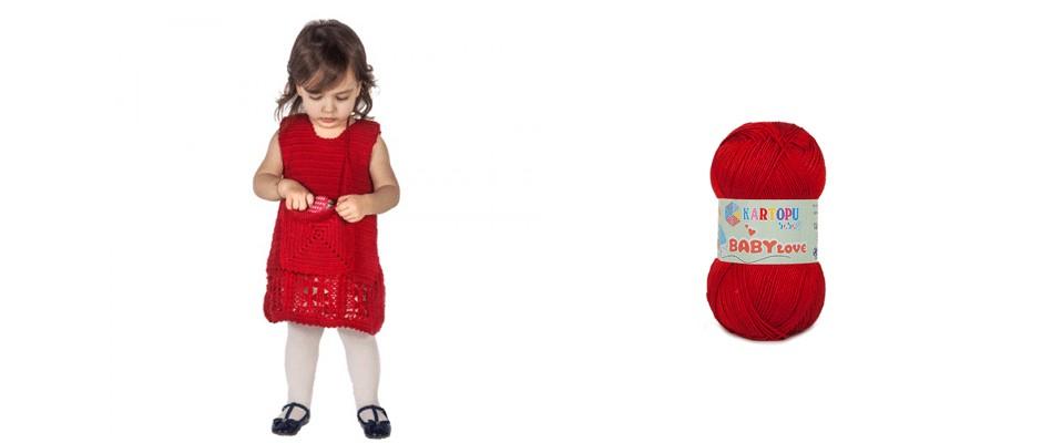 Minik Kırmızı Örgü Elbise