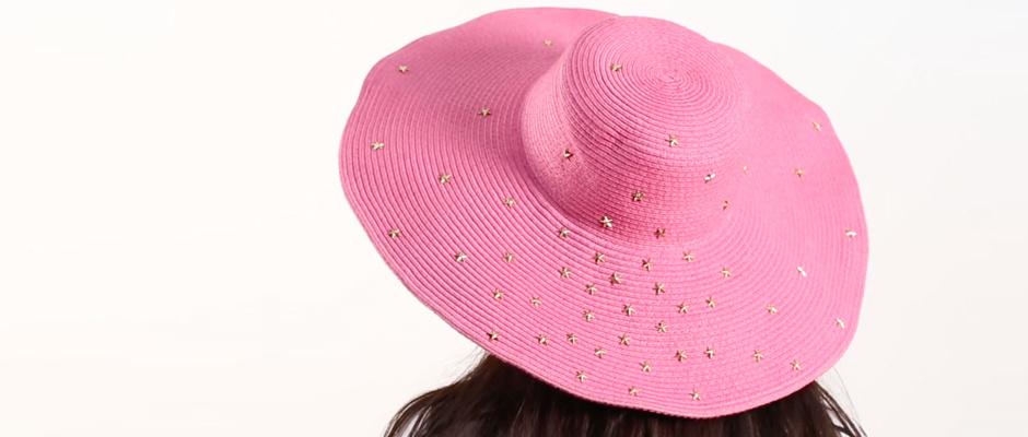 Hasır Şapka Üzerine Yıldız Zımba Süsleme
