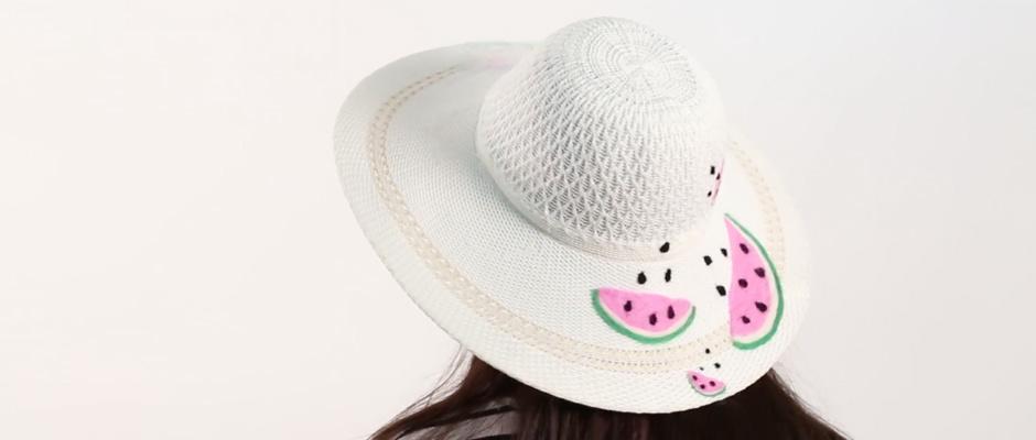 Hasır Şapka Üzerine Yün Keçe ile Karpuz İşleme