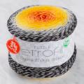 Etrofil Puzzle Cake Yarn, Black-Orange-Vermilion - PZ006