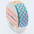 Sticker Ribbon Mavi Kare Baskılı Yapışkan Kurdele - SR-1692-V5