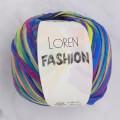 Loren Fashion Koyu Gökkuşağı Rafya Şerit İp - R076
