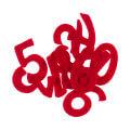 La Mia 4x2 cm 10'lu Kırmızı Sayı Keçe Motifler M13