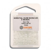 Kartopu 4 mm Sedef Beyaz Kristal Kum Boncuk - 09.1