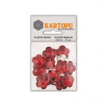 Kartopu Kırmızı Çiçek Gri Resin Taşı Dikilebilen Plastik Boncuk - RT5