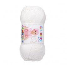 Kartopu Pamuklu Bebe Baby Cotton Beyaz Bebek Yünü - K019