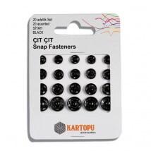 Kartopu Farklı Boylarda 20 Set Siyah Plastik Çıtçıt - K007.1.0019