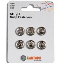 Kartopu 13 mm 6 Set Metal Gümüş Çıt çıt - K007.1.0015