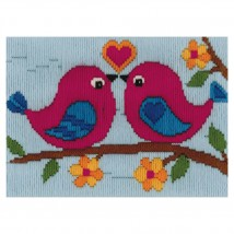 Duftin 15x15 cm Kuş Desenli Resim Uzun İşleme Kiti - FLS579873-AA0346