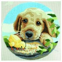 Duftin 30x30 cm Köpek Desenli Resim Uzun İşleme Kiti - FLS1037-AA0398