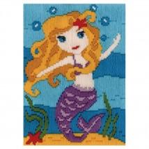 Duftin 15x15 cm Deniz Kızı Desenli Resim Uzun İşleme Kiti -FLS579877-AA0346
