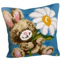 Collection D'art 40x40 cm Papatyalı Tavşan Desenli Goblen Yastık Kit