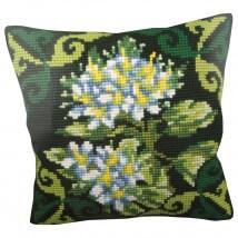 Collection D'art 40x40 cm Yeşil Ledum Çiçeği Desenli Goblen Yastık K