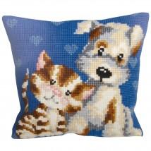 Collection D'art 40x40 cm Kedi-Köpek Desenli Goblen Yastık Kiti