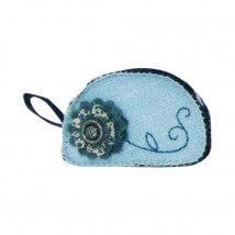 Kleiber Açık Mavi Çiçekli Makyaj İçin Keçe Çanta -  931-46