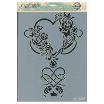 Cadence A4 Boyutunda Kalp Stencil Şablon - AS535