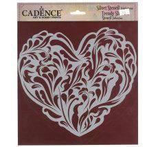 Cadence 25x25cm Kalp Silüet Stencil Şablon - KS112