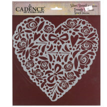 Cadence 25x25cm Kalp Silüet Stencil Şablon - KS106