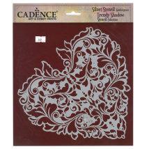 Cadence 25x25cm Kalp Silüet Stencil Şablon - KS109