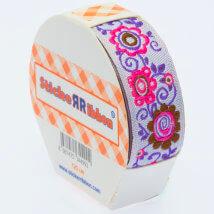 Sticker Ribbon Çiçek Baskılı Yapışkan Kurdele - SR-1699-V4