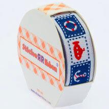 Sticker Ribbon Mavi Deniz Baskılı Yapışkan Kurdele - SR-1698