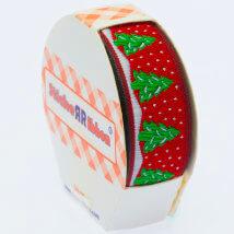 Sticker Ribbon Kırmızı Çam Ağacı Baskılı Yapışkan Kurdele - SR-1482