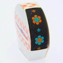 Sticker Ribbon Siyah Çiçek Baskılı Yapışkan Kurdele - SR-1690-V5