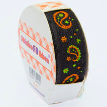 Sticker Ribbon Siyah Motif Baskılı Yapışkan Kurdele - SR-1691-V5
