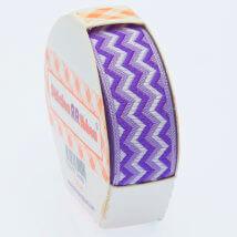 Sticker Ribbon Mor Zigzag Baskılı Yapışkan Kurdele - SR-1689 - V5