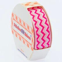 Sticker Ribbon Pembe Zigzag Baskılı Yapışkan Kurdele - SR1689-V4