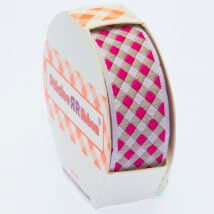 Sticker Ribbon Pembe Kare Baskılı Yapışkan Kurdele - SR-1692-V3