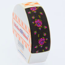 Sticker Ribbon Siyah Gül Baskılı Yapışkan Kurdele - SR-1700-V4