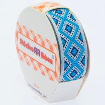 Sticker Ribbon Mavi Baskılı Yapışkan Kurdele - SR-1693-V1