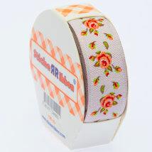Sticker Ribbon Turuncu Gül Baskılı Yapışkan Kurdele - SR-1700-V1