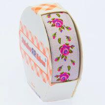 Sticker Ribbon Pembe Gül Baskılı Yapışkan Kurdele - SR-1700-V3