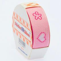 Sticker Ribbon Pembe Kalp Baskılı Yapışkan Kurdele - SR-1683-V1