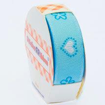 Sticker Ribbon Mavi Kalp Baskılı Yapışkan Kurdele - SR-1683-V2