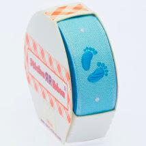 Sticker Ribbon Mavi Bebe Ayak İzi Baskılı Yapışkan Kurdele - SR-1683-V1