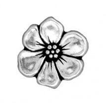 Tierra Cast 1 Adet 15.75x5 mm Gümüş Rengi Çiçek Aksesuar Düğme - 94-6549-12