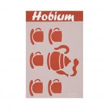 Hobium Çaydanlık ve Fincan Şekilli Stencil Şablon - 5086