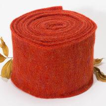 Lehner Wolle 15cmx1m Turuncu Yün Kumaş Keçe - O15-CO13