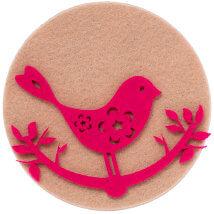 La Mia 10'lu Fuşya Kuş Keçe Figür - M27