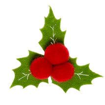 La Mia 10'lu Kırmızı Holly Meyvesi Keçe Motifler