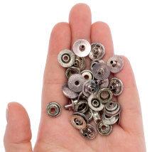 Create Recklessly 20'li Antik Gümüş Kaplama Deri Çıtçıtı