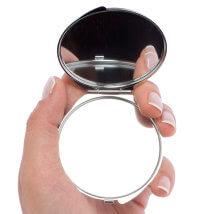 Hobium 50mm Gümüş Kaplama Çicek Desenli Yuvarlak Kapaklı Ayna - Abm03S
