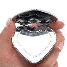 Hobium 46X34 mm Gümüş Kaplama Kalp Kapaklı Ayna - Abm02S