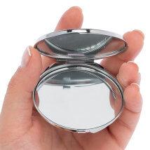 Hobium 50mm Gümüş Kaplama Kapaklı Yuvarlak Ayna - Abm01S-R