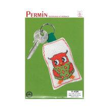 Permin 5x7 cm Kırmızı Baykuş Desenli Anahtarlık Etamin Kiti - 114320