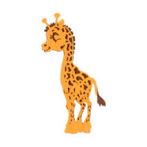 La Mia 8x6 cm 10'lu Turuncu Zürafa Keçe Motifler - F227