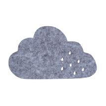 La Mia 12x7 cm 10'lu Kırçıllı Gri Bulut Keçe Motifler - M70